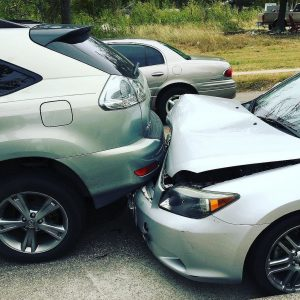 Car Accident with SUV and silver car